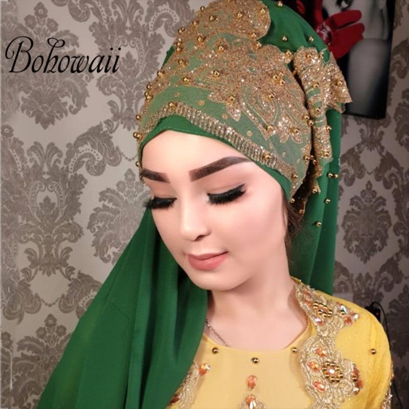 170cm Jewelry Jersey Hijab Muslim Turban Hijab Scarf 24 Colors Malaysia Chiffon Bling Bling Beads Bonnet Hijab Scarf