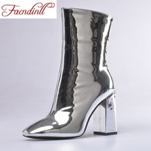 FACNDINLL 2019 new shoes woman ankle boots gold silver sexy high heels square toe zipper women autumn dress party wedding shoes facndinll women boots new fashion autumn winter square high heels pointed toe zipper shoes woman dress party riding ankle boots