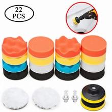 3 Polegada 22 pçs carro polonês espuma esponja broca polimento almofada kit com m10 broca adaptador para máquina de polimento para carro