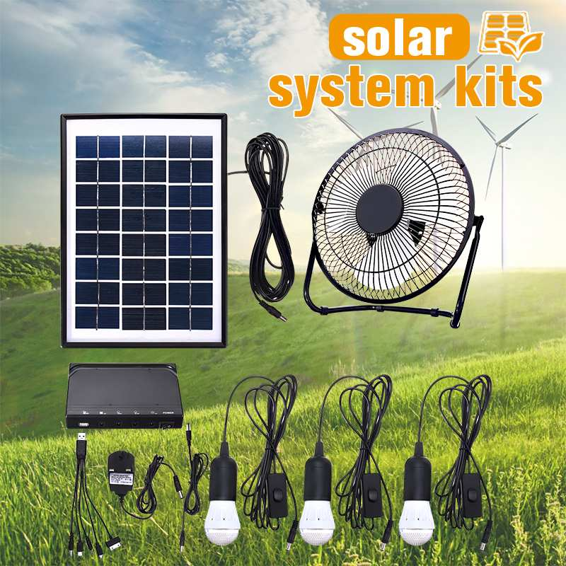 5V USB Charger Home System Solar Power Panel Generator Kit With 3 LED Bulbs Light And 8 Inch Fan For Indoor Or Outdoor
