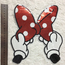 patchesI  patches for clothing 25cm Dot Bow Red Sequined Fabric Sequins Strange things T shirt Women Patch Clothes Stickers