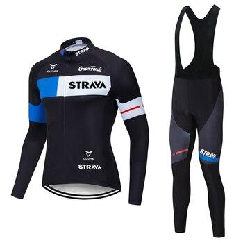 2020 strava pro equipe de manga longa conjunto camisa ciclismo bib calças ropa ciclismo bicicleta roupas mtb camisa uniforme dos homens 1