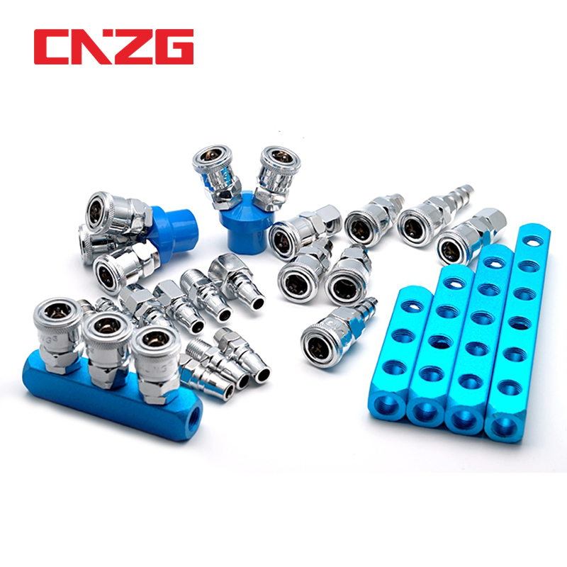 1//4-Inch Industrial Couplers 4 Way Air Compressor Splitter Manifold Distributor with 4