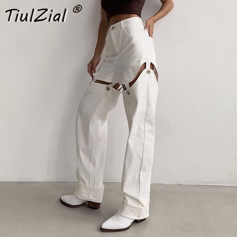 TiulZial Women Casual High Waist Pants White Patchwork Cargo Pants Capri Streetwear Button Straight Trousers