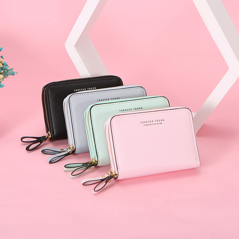 Solid Double Zipper Women Wallet Many Department Ladies Small Purses Wallets Female Card Holder Coin Pocket Ladies Short Clutch