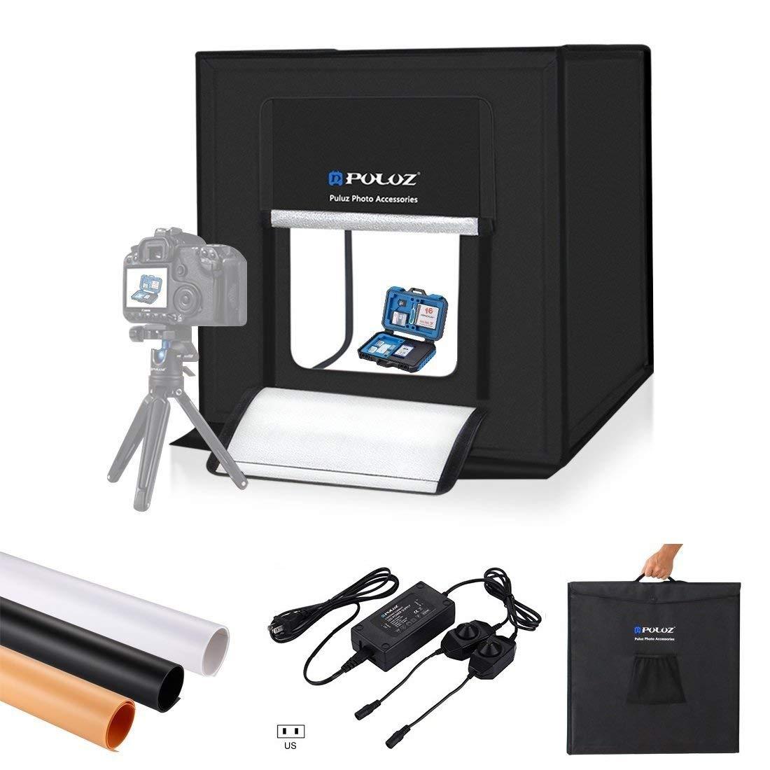 Caixa de Luz Kit de Tiro Dobrável + 3 Tendas Centímetros Portátil Photo Studio Iluminação Fotografia Softbox Fundos Tabletop 60*60