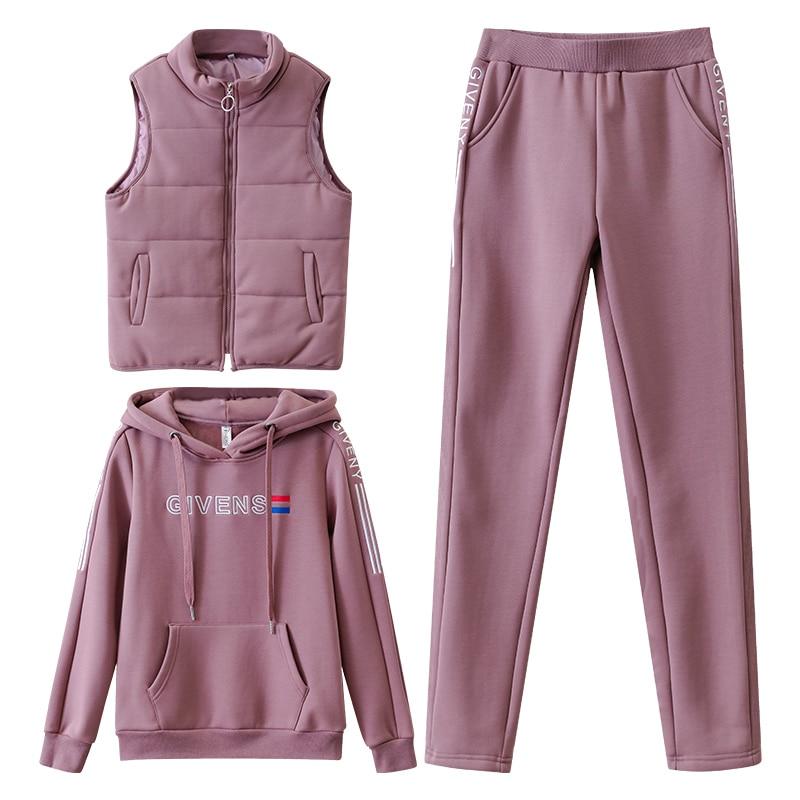 Women Suit Tracksuit Winter 3 Piece Set Hoodies+Vest+Pants Casual Suit Plus Velvet Warm Sporting Women's Suits Female Clothes