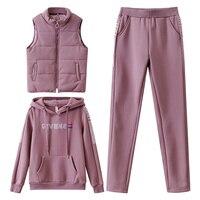 Women Suit Tracksuit Winter 3 Piece Set Hoodies+Vest+Pants Casual Suit Plus Velvet Warm Sporting Women\'s Suits Female Clothes