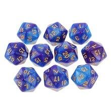 20 face d20 diques duplo cores dados para jogar d & d rpg tabuleiro de jogos favores e matemática ensino, pacote de 10