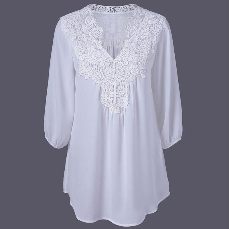 Blouses   Women Plus Size 2019 White Lace New Spring Summer Chiffon Hollow V-neck Loose Three Quarter Sleeve Tops   Shirts   Women