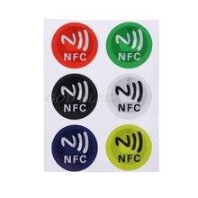 6 pçs impermeável pet material nfc adesivos adesivo inteligente ntag213 tags para todos os telefones transporte da gota