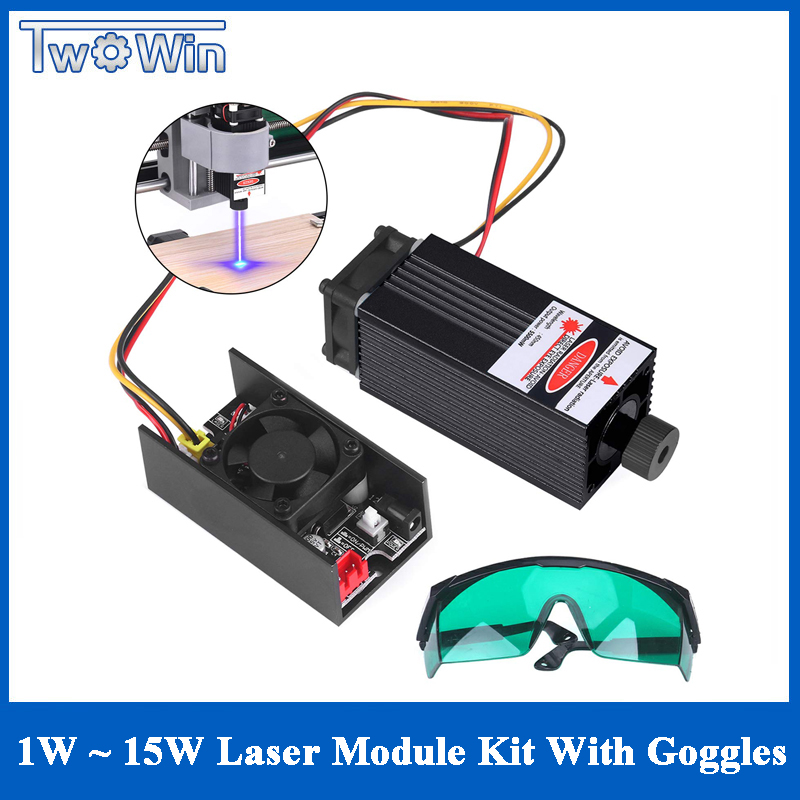 1000mw~15W Laser Module 450NM Blue Laser Head Engraving Cutting Laser Kit Laser Tube Free Goggles For 2/3 Axis Laser Machine