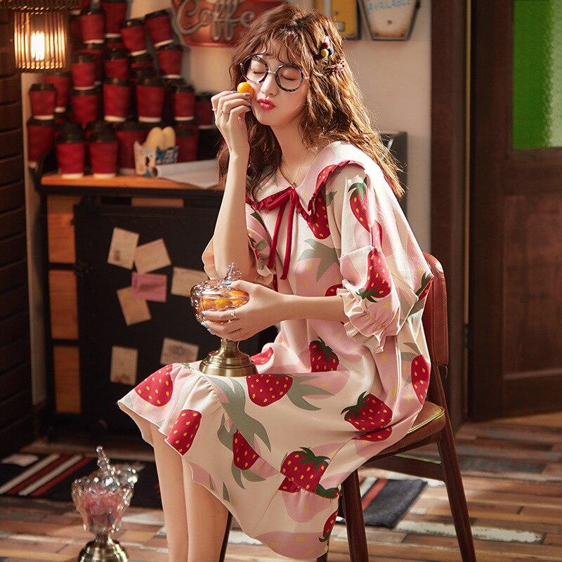100% Cotton Nightgown Summer Short Sleeve Sleepwear Casual Knee-length Night Dress Loose Cute Cartoon Print Sleepwear 28 Colors