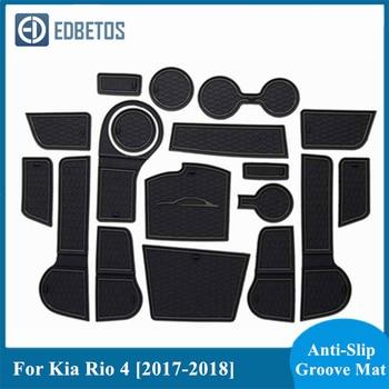 Gate Slot Mats For Kia Rio 4 X-Line RIO 2017 2018 2019 2020 Interior Door Pad Cup Holders Non-Slip Mats фото