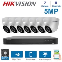 Hikvision English 8 Channels DVR Video Surveillance With 7 Pcs 5MP TVI/CVI/AHD/CABS 4 in 1 Camera Indoor Night Vision Kit