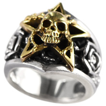 925 sterling silver jewelry retro Thai skull five-pointed star rose ring men
