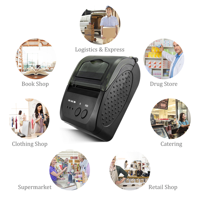 NETUM NT-1809DD 58mm Bluetooth Thermal Receipt Printer for Android IOS Windows AND 5890T RS232 Port Receipt Printer POS Portable 3