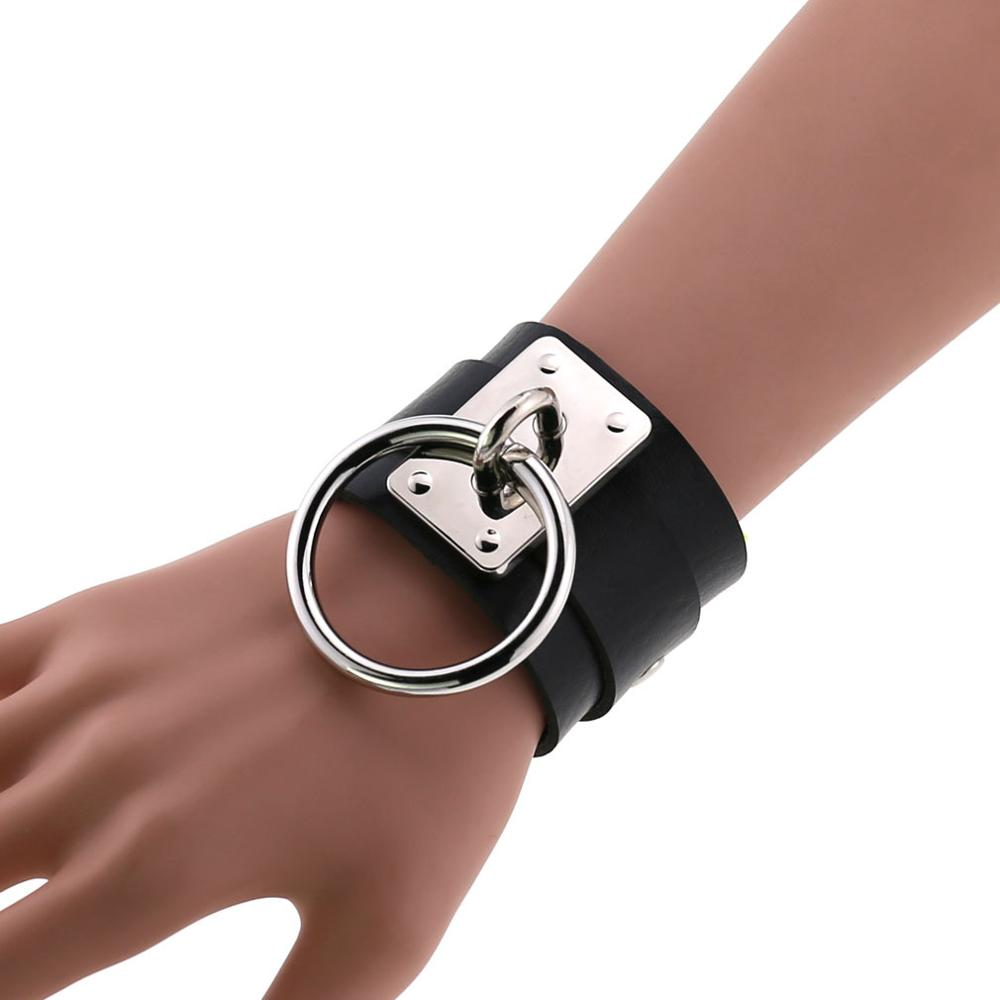 Black Leather Wristband Bracelet Cuff goth gothic punk bracelets women men emo metal armbands cosplay jewelry