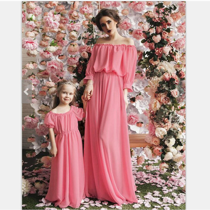 Slash neck mother daughter dresses