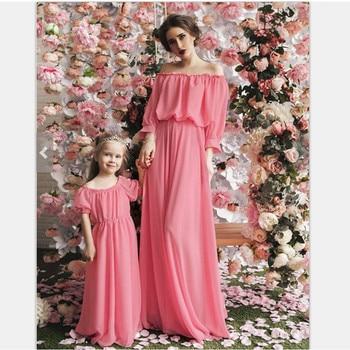 Slash neck mother daughter dresses