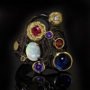 2020 New Antique Italian Jewelry Luxury Black Gold Filled Opal Rings for Women Tungsten Zircon Retro Wedding Band Bohemia Ring