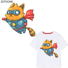 ZOTOONE Cartoon Flying Panda Patches Animal Sticker for Kids Iron on Transfers Clothes T-shirt DIY Heat Transfer Appliques G