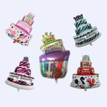 A large three-tier cake candle aluminium film balloon birthday party balloons decorative aluminum foil