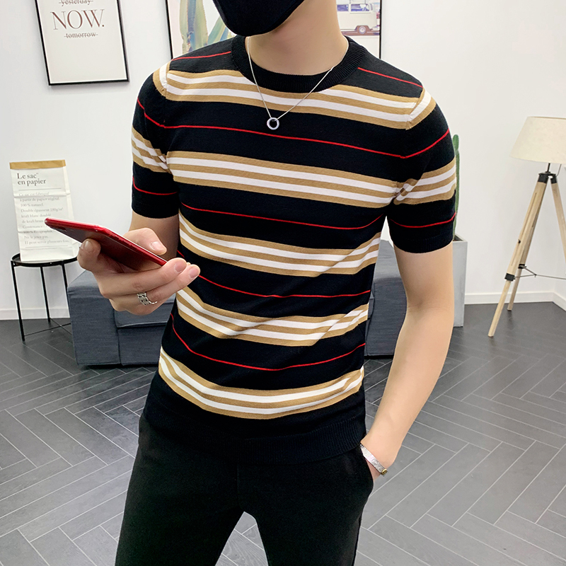 Summer Dress Short Sleeve Stripe Knitting Tshirt Tee Jacquard Weave High Quality Streetwear Round Sleeve T-shirt Camisetas Hombr
