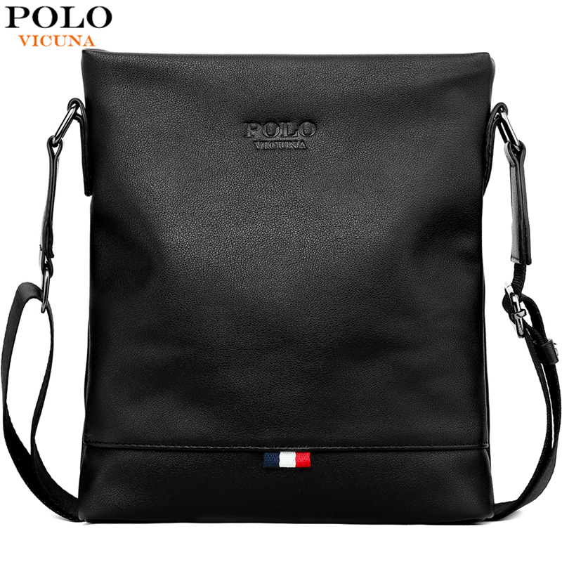 VICUNA POLO Classic Men Pure Color Messenger Bag With Back Pocket Man Handbag Beach Bag Black Casual Men's Crossbody Bag Bolsa
