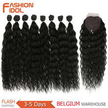 FASHION IDOL Water Wave Hair Bundles With Closure Synthetic Hair Extensions Ombre Blonde Silver Grey Hair 9Pcs Pack 20inch Fiber cheap High Temperature Fiber CN(Origin) Machine One Weft 100g(+ -5g) piece 1 Piece Only W-QM313C 20 9PCS 240g 20 Inch Black Brown Blonde Grey Red 613