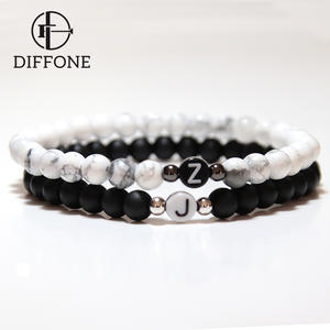 Diffone 2020 Classic Pair Bracelet Men Women Creative DIY Letter Braclet Natural Stone Beads Braslet Distance Couple Brazalete