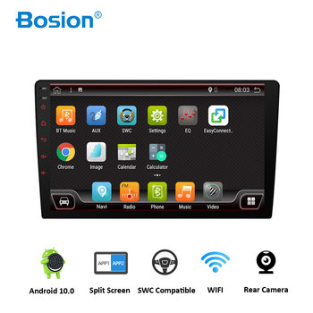 Bosion 10.1 inch android 10.0 car radio dvd player universal GPS Navigation audio stereo radio with WIFI+bluetooth+camera+usb image