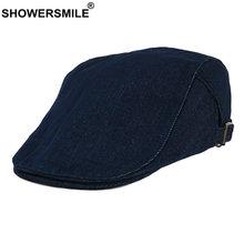 Showersmile козырьки джинсовая плоская кепка британские береты