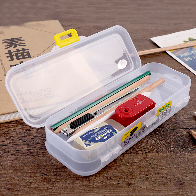 Sketch Pencil Brush Box Transparent Plastic Box Pencil Storage Box Large Capacity Multi-function Brush Storage Box Art Supplies