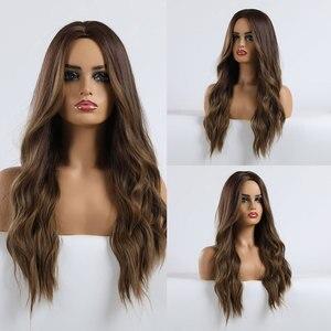 Image 5 - Easihairロングオンブルブラウン合成かつら自然の波女性のためのウィッグ耐熱ウィッグのかかった髪かつら