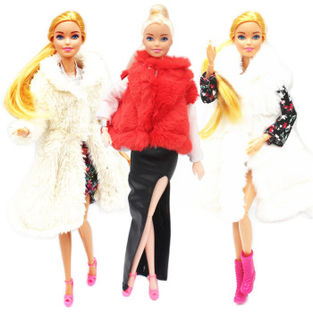 Fur Coat Dress Outfit Set for Barbie 1:6 BJD SD Doll Clothes Accessories Play House Dressing Up Costume fur coat dress outfit set for barbie 1 6 bjd sd doll clothes accessories play house dressing up costume