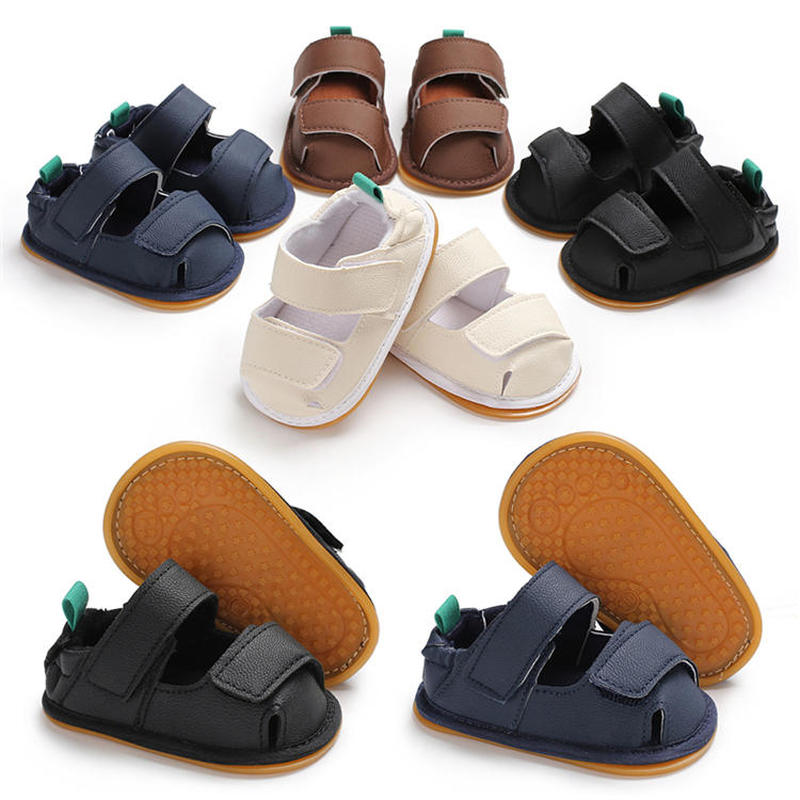Infant Boys Girls Baby Sandals Fabric Flower PU Leather Newborn Infant Toddler Anti-Slip Rubber Sole First Walkers Summer Shoes