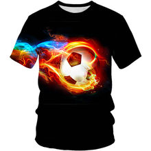 Camiseta en 3D con estampado divertido de fútbol de fuego para niños y niñas, camisetas geniales para niños de 4 a 12 años, vera