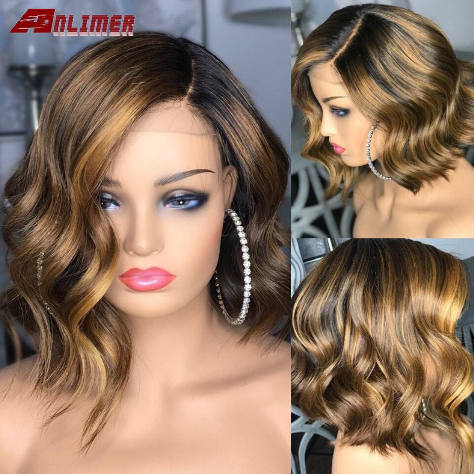 Парик из человеческих волос с эффектом омбре, Перуанская волна, светлый хайлайтер, короткий парик, 5x5, искусственная кожа головы, парик из че...