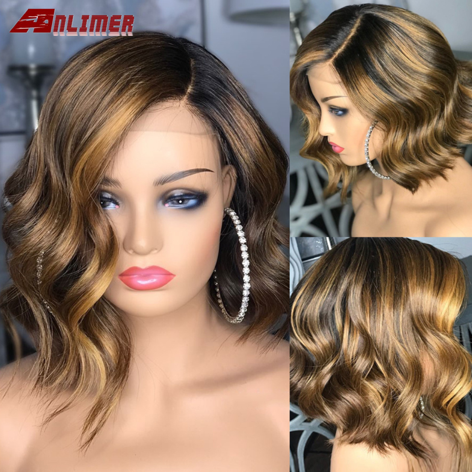 Ombre laço peruca de cabelo humano peruano onda loira destaque curto bob peruca 5x5 plutônio couro cabeludo superior peruca cabelo humano remy pré arrancado