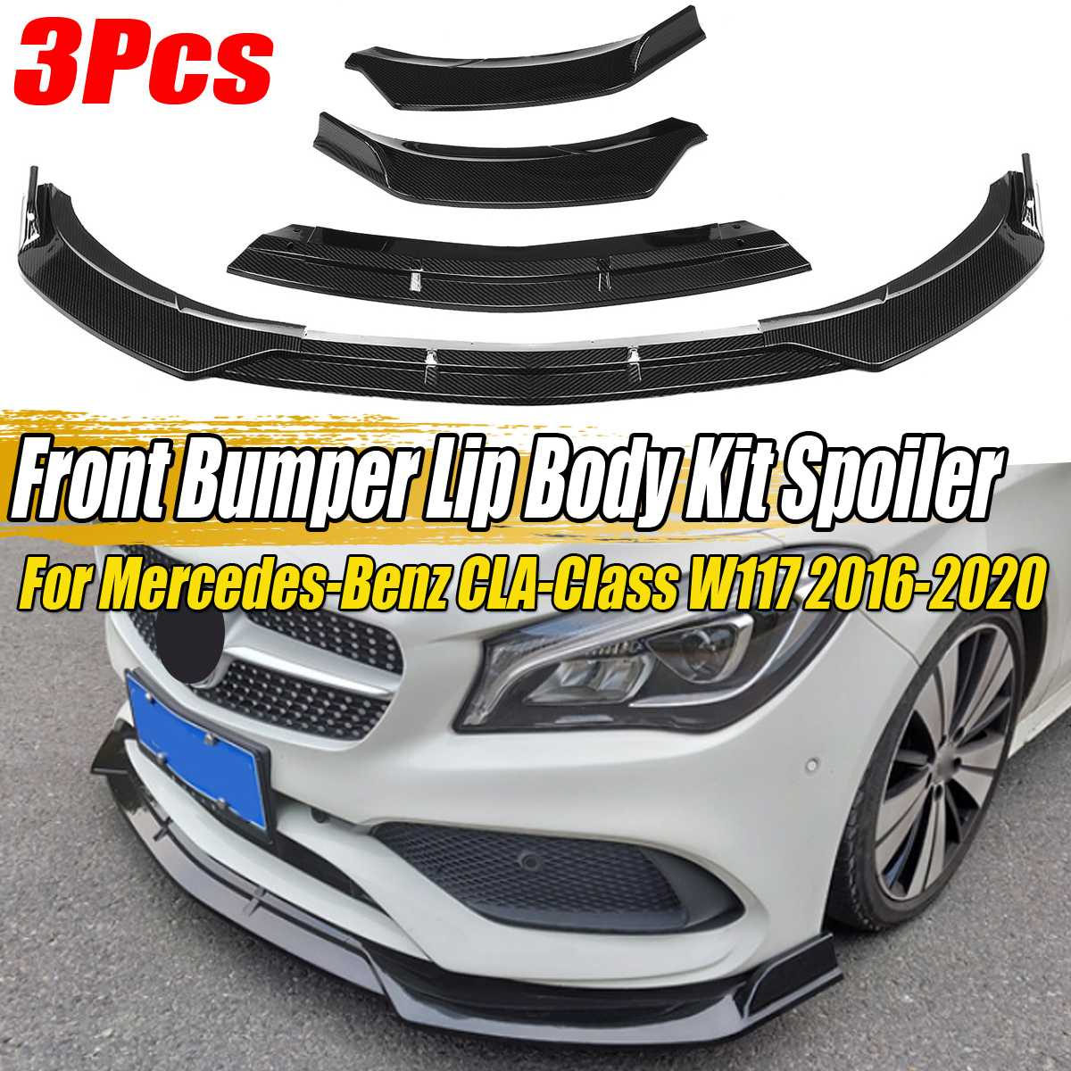 3PCS Car Front Bumper Splitter Lip Spoiler Diffuser Guard Protection Cover Trim For Mercedes For Benz CLA-Class W117 2016-2020