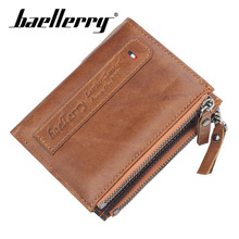 Baellerry Wallet Genuine Leather Men Grain Zipper Hasp Clip Porta Bag Coin Pocket Card Holder Note Compartment