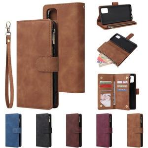 Image 1 - Rits Lederen Voor Samsung Galaxy A01 A11 A21 A41 A51 A71 A81 A91 A50 A30 A70 Case Magnetic Wallet Card flip Stand Phone Bag