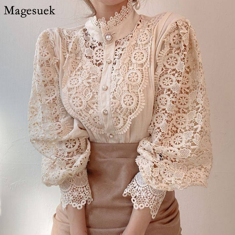 1357.0¥ 34% OFF|Vintage Solid White Lace Blouse Shirts Women New Korean Button Loose Shirt Tops Fem...