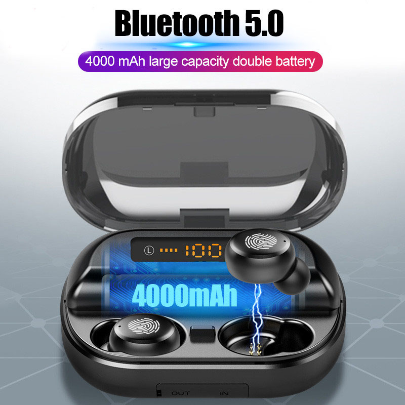 Mini V11 TWS Touch Control TWS Bluetooth Earphones 5.0 Wireless Earbuds 9D Stereo Headset With Charger Box 4000 MAh Power Bank