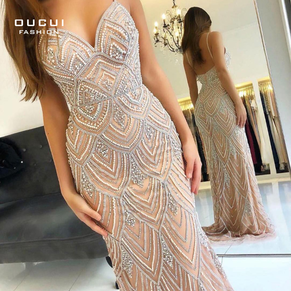 Oucui Dubai Luxury Sleeveless Mermaid Evening Gowns New Sexy Diamond Beading Gray Women Dresses Long Party Prom Dress OL103369