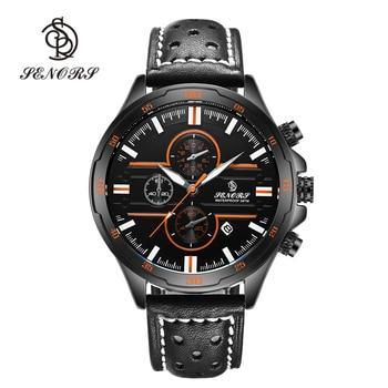 Senors Casual Sport Quartz Watches for Men Top Brand Luxury Military Black Leather WristWatch Man Clock Fashion