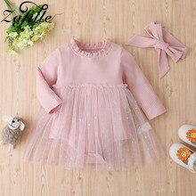 ZAFILLE сладкий 2021 платье комбинезон для детей платье принцессы, одежда из хлопка для новорожденных, Детский костюм розового цвета для маленьк...