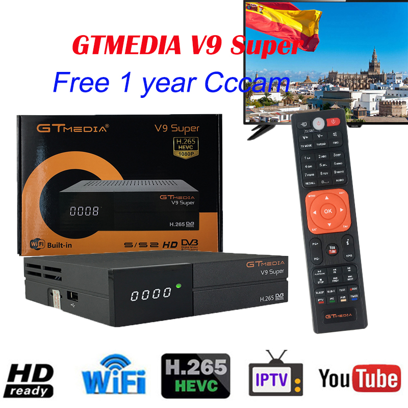 Newest GTMEDIA V9 Super Full HD Satellite Decoder TV Box Supports 1080P Free 7 Line Cccam Built-in WiFi Same As Gtmedia V8 Nova