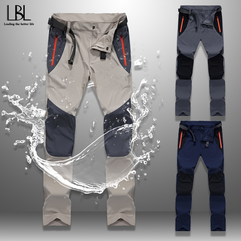 Splicing Cargo Pants Men Spring Summer 2020 New Fashion Mens Tactical Pants Waterproof Long Trousers Zipper Pocket Bottoms Man